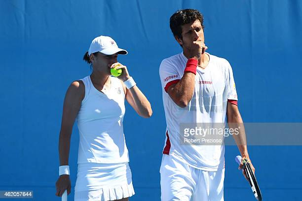 Katarina Srebotnik of Slovenia and Marcelo Melo of Brazil in action in their first round mixed doubles match Arantxa Parra Santonja of Spain and...