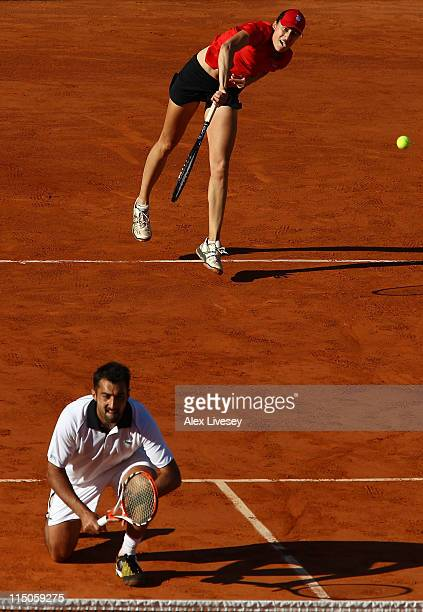 Katarina Srebotnik of Slovenia and Nenad Zimonjic of Serbia in action during the mixed doubles final match between Katarina Srebotnik of Slovenia and...