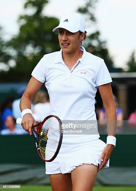 Katarina Srebotnik of Slovenia during her Mixed Doubles second round match with Mike Bryan of the United States against Chris Guccione of Australia...