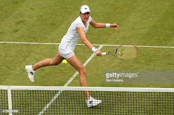Katarina Srebotnik of Slovenia in action during the doubles semi final match against Martina Hingis on Switzerland and Sania Mirza of India on day...