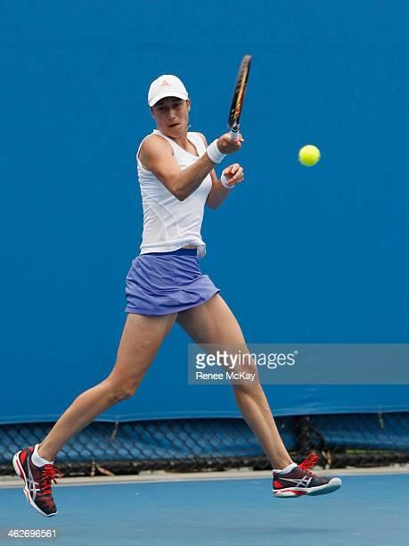 Katarina Srebotnik of Slovenia plays a forehand in her first round doubles match with Kveta Peschke of the Czech Republic against Alexandra Cadantu...