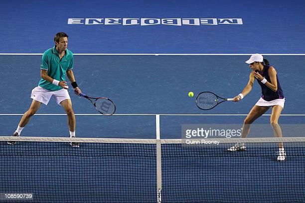 Katarina Srebotnik of Slovenia plays a forehand in her mixed doubles final match with Daniel Nestor of Canada against Paul Hanley of Australia and...