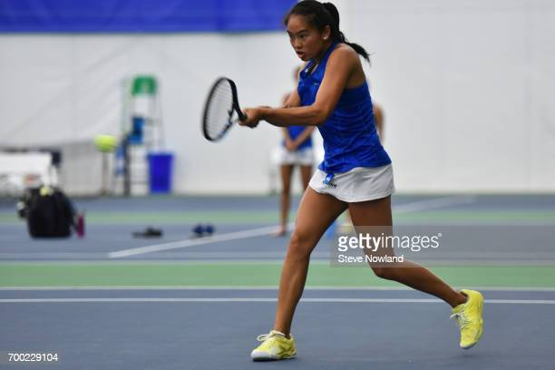 Katarina Su of Emory returns a volley during the Division III Women's Tennis Championship held at Champions Tennis Club on May 24 2017 in Chattanooga...