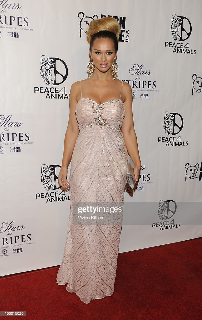 Katarina Van Derham attends Stars For Stripes Benefit Hosted By Alison Eastwood Benefiting Peace 4 Animals And Born Free USA at Hemingway's on November 10, 2012 in Los Angeles, California.