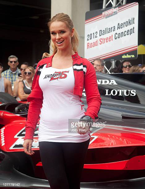 Katarina Van Derham attends the 100th Anniversary Indianapolis 500 at Indianapolis Motor Speedway on May 29 2011 in Indianapolis Indiana