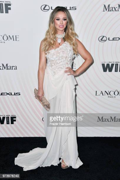 Katarina Van Derham attends the Women In Film 2018 Crystal Lucy Awards presented by Max Mara Lancôme and Lexus at The Beverly Hilton Hotel on June 13...