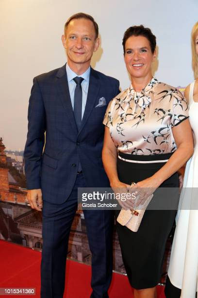 Katarina Witt and Carsten during the 11th GRK Golf Charity Masters reception on August 11 2018 at The Westin Hotel in Leipzig Germany