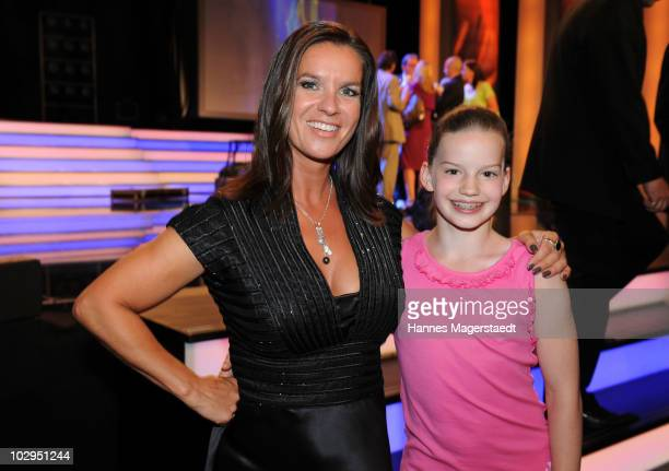 Katarina Witt and Toska Markgraf attend the Bavarian Sport Award 2010 at the International Congress Center Munich on July 17 2010 in Munich Germany