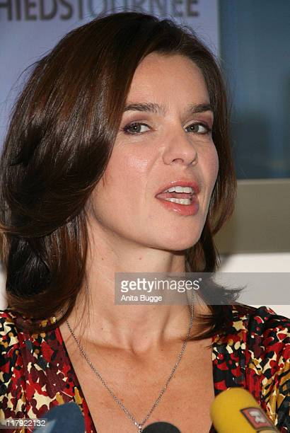 Katarina Witt attends a press conference promoting her farewell tour 2008 on October 22, 2007 in Berlin, Germany.