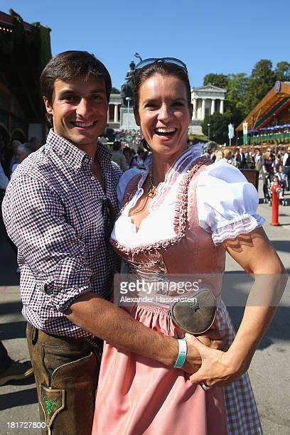 Katarina Witt attends with Bruno Spengler the BMW Wiesn Sport Stammtisch Oktoberfest 2013 at Kaefers Wiesn Schaenke Theresienwiese on September 24...