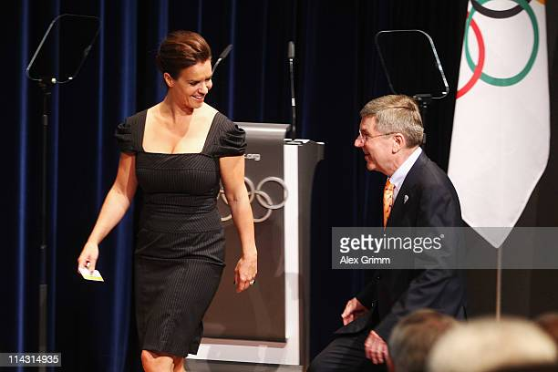 Katarina Witt Chair of Munich 2018 and Thomas Bach IOC Vice President and President of the German Olympic Sports Confederation arrive for the...