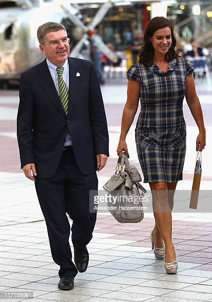 Katarina Witt , Chair of Munich 2018 arrives with IOC Vice President and Chairman of the Munich 2018 Shareholder Board Thomas Bach for the Munich...