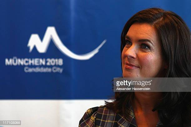Katarina Witt, Chair of Munich 2018 smiles during a press conference at Munich 2018 candidate city meeting on June 22, 2011 in Munich, Germany.
