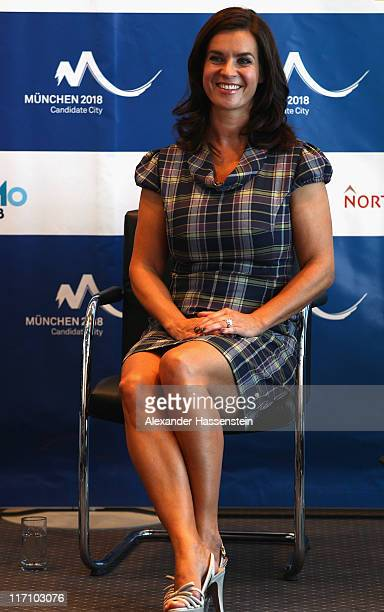 Katarina Witt Chair of Munich 2018 smiles during a press conference at Munich 2018 candidate city meeting on June 22 2011 in Munich Germany