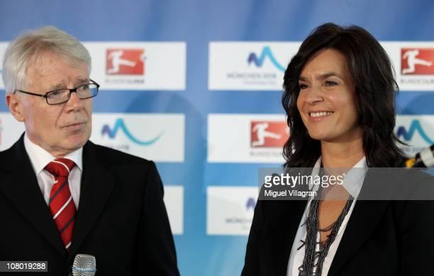 Katarina Witt Chair of the Munich 2018 Bid Commitee and Reinhard Rauball president of Deutsche Fussball Liga address the media during a press...