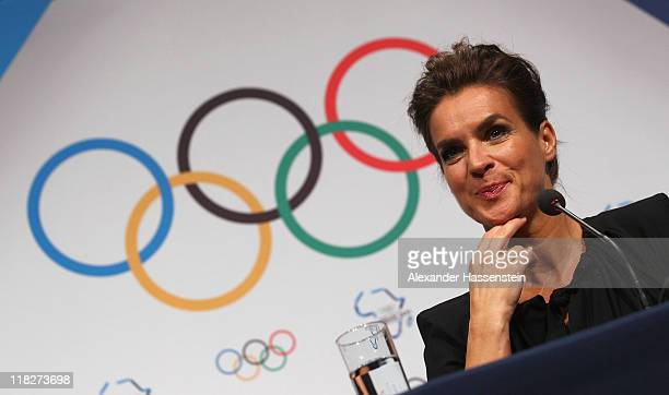 Katarina Witt, Chair of the Munich 2018 Bid Committee and two-time Olympic champion looks on during a press conference of the Munich 2018 Bid...