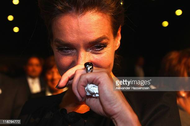 Katarina Witt, Chair of the Munich 2018 Bid Committee reacts after the announcing of the host city for the 2018 Olympic Winter Games during the 123rd...