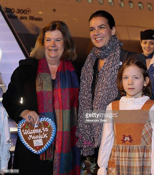 Katarina Witt chair of the Munich 2018 Bid Committee welcomes Gunilla Lindberg chair of the IOC Evaluation Commission on February 27 2011 in Munich...