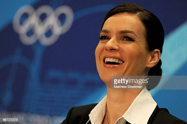Katarina Witt looks on during a news conference on behalf the Munich 2018 bid committee in the Main Press Centre during day four of the Vancouver...