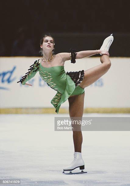 Katarina Witt of East Germany performs in the Women's Figure Skating event during the ISU European Figure Skating Championships on 7 February 1985 in...