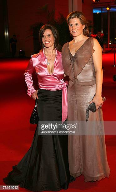 Katarina Witt poses with Britta Becker at the 2007 Sports Gala Ball des Sports at the RheinMain Hall on February 3 2007 in Wiesbaden Germany
