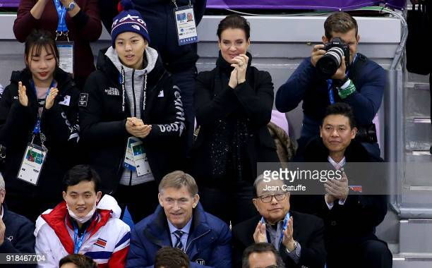 Katarina Witt reacts with emotion after the performance of Aljona Savchenko and Bruno Massot of Germany during the Figure Skating Pair Skating Free...