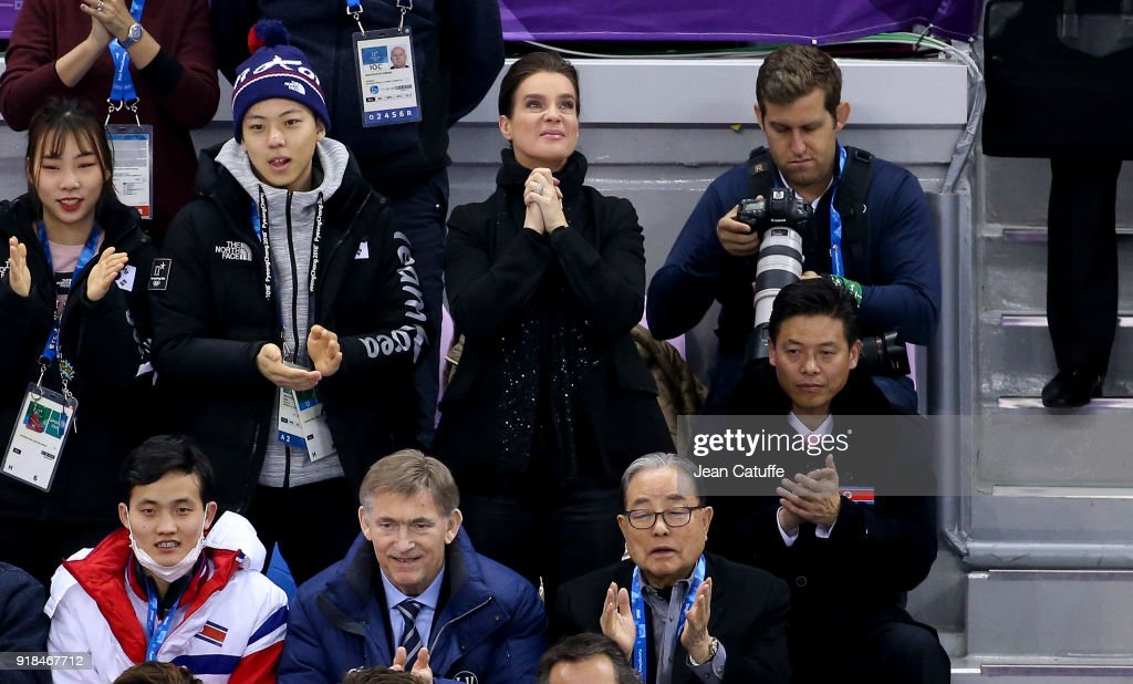 Katarina Witt reacts with emotion after the performance of Aljona Savchenko and Bruno Massot of Germany (they'll win the gold medal) during the Figure Skating Pair Skating Free Program on day six of the PyeongChang 2018 Winter Olympic Games at Gangneung Ice Arena on February 15, 2018 in Gangneung, Pyeongchang, South Korea.