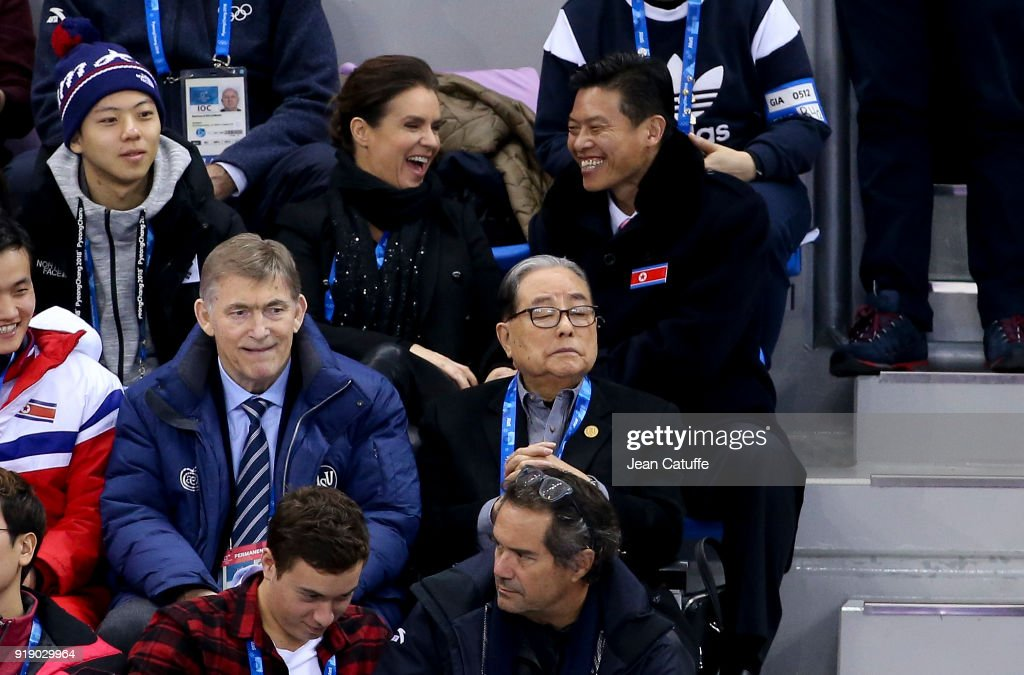 Katarina Witt talks with an official of North Korea during the Figure Skating Pair Skating Free Program on day six of the PyeongChang 2018 Winter Olympic Games at Gangneung Ice Arena on February 15, 2018 in Gangneung, Pyeongchang, South Korea.
