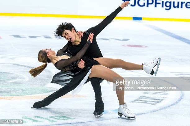 Katarina Wolfkostin and Jeffery Chen of USA perform during the ISU Junior Grand Prix of Figure Skating at Tivoli Hall on September 25, 2021 in...