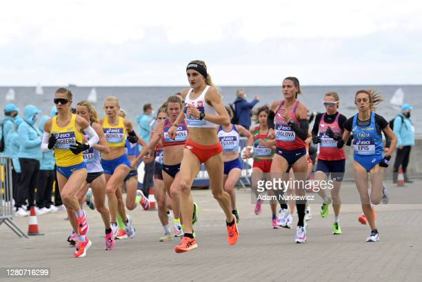 Katarzyna Jankowska of Poland competes in the Women's Final run during the World Athletics Half Marathon Championships on October 17, 2020 in Gdynia,...