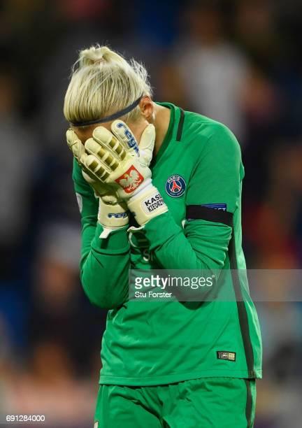 Katarzyna Kiedrzynek of Paris SaintGermain Feminines reacts as she misses a penalty in the shoot out during the UEFA Women's Champions League Final...