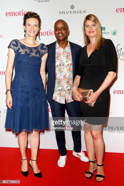 Katarzyna Mol-Wolf, Yared Dibaba and Alexandra Widmer attend the Emotion Award at Laeiszhalle on June 28, 2017 in Hamburg, Germany.