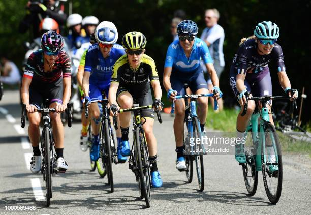 Katarzyna Niewiadoma of Poland and Canyon SRAM Racing Team / Amanda Spratt of Australia and Team MitcheltonScott / Lorena Llamas Garcia of Spain and...
