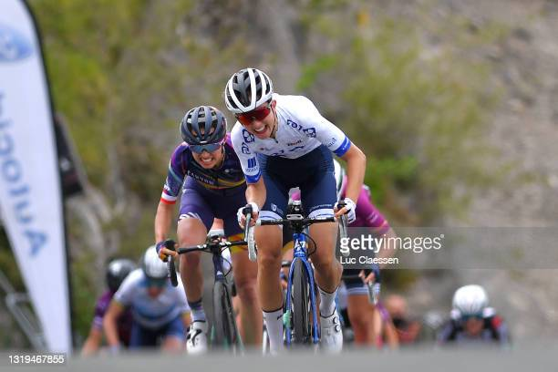 Katarzyna Niewiadoma of Poland and Team Canyon SRAM Racing & Cecilie Uttrup of Ludwig Denmark and Team FDJ Nouvelle - Aquitaine Futuroscope sprint at...