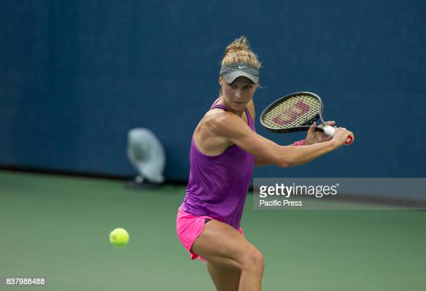 Katarzyna Piter of Poland returns ball during qualifying game against Grace Min of USA at US Open 2017