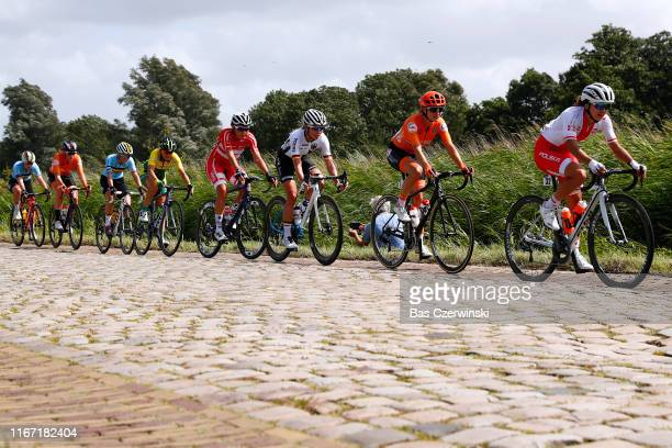 Katarzyna Wilkos of Poland / Marianne Vos of Netherlands / Charlotte Becker of Germany / Peloton / Cobblestones / during the 25th UEC Road European...