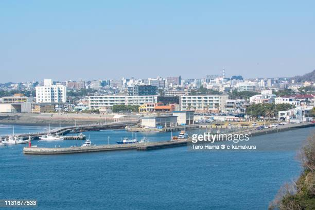 Katase Harbor and residential buildings in Fujisawa city in Kanagawa prefecture in Japan