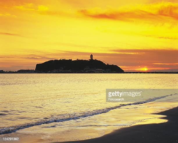 Katasehigashi Beach in the Evening, Shonan, Kanagawa Prefecture, Japan, Front View