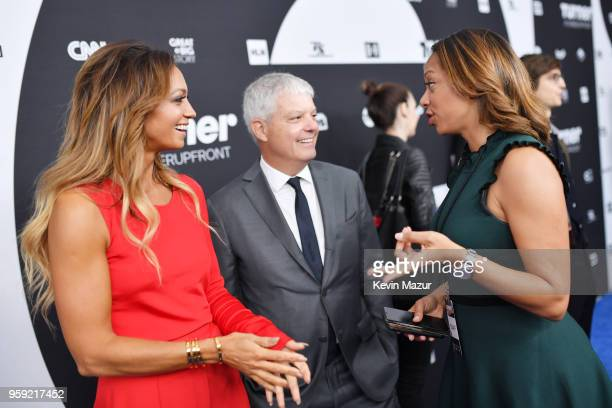 Kate Abdo and David Levy President Turner attend the Turner Upfront 2018 green room at Nick and Stef's Steakhouse on May 16 2018 in New York City...