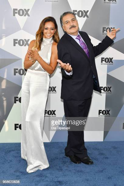 Kate Abdo and Fernando Fiore attend the 2018 Fox Network Upfront at Wollman Rink Central Park on May 14 2018 in New York City
