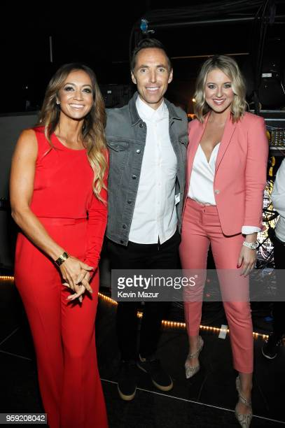 Kate Abdo Host of UEFA Champions League Steve Nash of B/R Football and Kristen Ledlow Turner Sports NBA reporter attend the Turner Upfront 2018 show...
