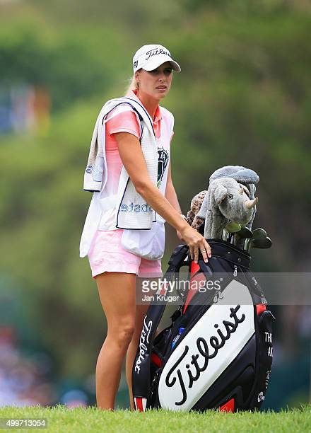 Kate Aiken wife and caddie of Thomas Aiken of South Africa looks on during day one of the Nedbank Golf Challenge at Gary Player CC on December 3 2015...