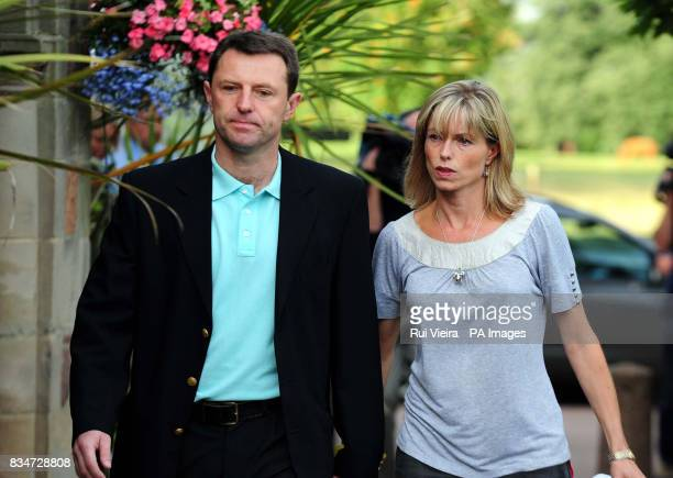Kate and Gerry McCann arrive to give a statement at the Rothley Court Hotel in Rothley Leicestershire after they were formally cleared by the...