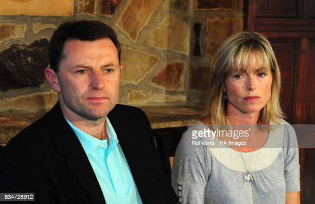 Kate and Gerry McCann give a statement at the Rothley Court Hotel in Rothley Leicestershire after they were formally cleared by the Portuguese...