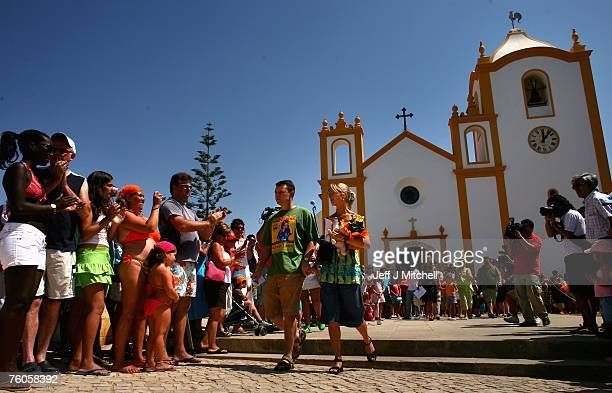 Kate and Gerry McCann leave church after attending a special service of prayers for their missing daughter August 11 2007 in Praia da Luz Portugal It...
