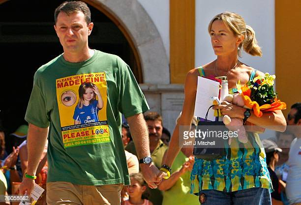 Kate and Gerry McCann leave church after attending a special service of prayers for their missing daughter on August 11 2007 in Praia da Luz Portugal...