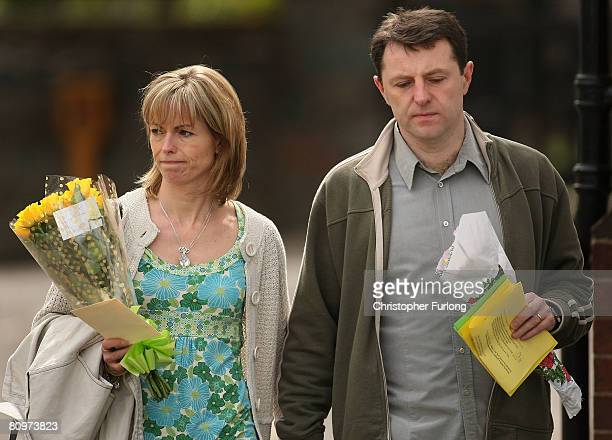 Kate and Gerry McCann leave the Church of St Mary and St John in their Leicestershire home town of Rothley after a prayer service to mark one year...