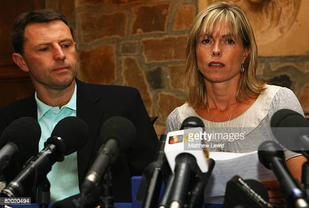 Kate and Gerry McCann speak to the media during a press conference to announce that they have been cleared of being formal suspects in the...