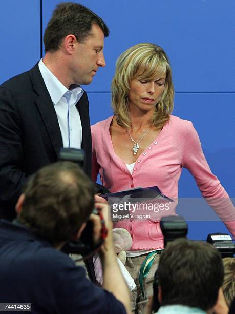 Kate and Gerry McCann the parents of the missing 4yearold British girl Madeleine McCann attend a press conference on June 6 2007 in Berlin Germany...
