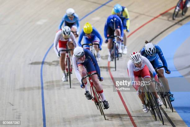Kate Archibald Efgenia Augustnas of Women`s scratch race compete at The UCI World Cycling Championships in Apeldoorn on February 28 2018